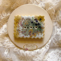 Ceramic Button, Handmade Rectangle Ceramic Button OOAK