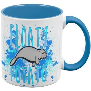 DCCKJY1 Floaty Potato Manatee Funny Grunge Splatter Coffee Mug