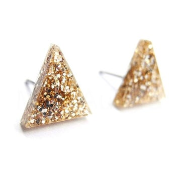 Gold Glitter Triangle Stud Earrings,Glitter Earrings,Sparkle Earrings,Triangle Earrings,Gold Geometric Jewelry,Tiny Pyramid Studs (E239)