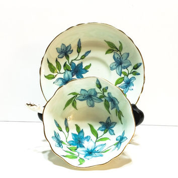 Paragon Tea Cup and Saucer, Blue Flowers, English Bone China, Single Warrant, 1960s, Shabby Chic Decor, Vintage Tea Cup
