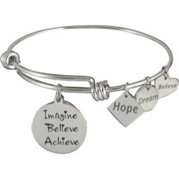 Stainless Steel Expandable Charm Bangle Bracelet Imagine Believe Achieve