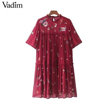 Vadim sweet floral embroidery chiffon sequined dress pleated ruffled collar short sleeve mini dresses vestidos mujer QZ3275
