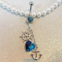 Anchor and blue crystal heart belly button jewelry ring in 14 gauge
