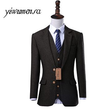 yiwumensa 2017 terno slim fit men 3 piece suits wedding dress For men Custom made tweed suit men homens blazer mens suit tuxedo