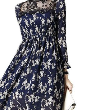 HEE GRAND Autumn New Lace Stand Collar Dress Women Full Petal Sleeve  Mini Dress Sexy Floral Vestido Mulheres WQL4700