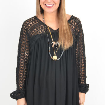 Black Dress with Crochet Sleeves and Top Detail