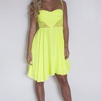 Neon Yellow Sleeveless Bustier Dress with Caged Detail