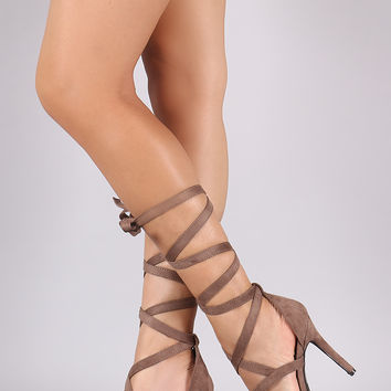 Breckelle Leg Wrap Pointy Toe Stiletto Pump