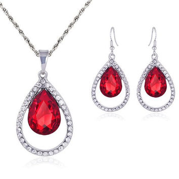 Red Gem and Rhinestone Cut Out Water Drop Necklace with Earrings
