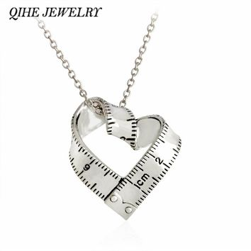 QIHE JEWELRY Dainty Sweet Love Heart Measuring Tape Pendant Explore Ruler Necklace Vintage Jewelry