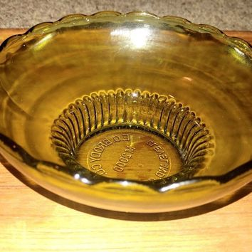 E O Brody Co M2000 Green Glass Bowl With Scalloped Rim and Ribbed Bowl