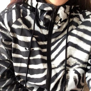 """Adidas"" Female Autumn Zebra Print Movement Windbreaker Jacket Coat"