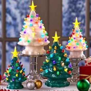 Retro Lighted Tabletop Christmas Tree With Star Holiday Vintage Look Home Decor