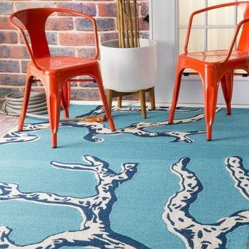 NuLOOM Thomas Paul Outdoor Hand Hooked Coral Rug Blue