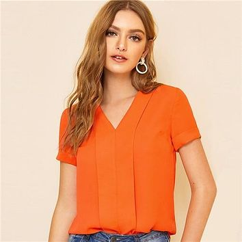 Sheinside Orange Casual V Neck Pleated Trim Blouse Women