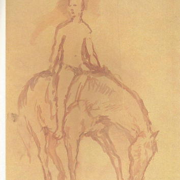 "Pablo Picasso 1972 Vintage Lithograph Signed on the Plate Entitled ""Le Jeune Cavalier"", Original is circa 1906 - From Sari Heller Gallery"