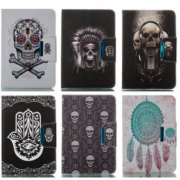 Skull Case for Apple iPad mini 1/2/3 PU Leather Stand Case with card slot