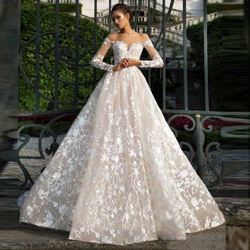 Illusion Neckline Long Sleeves Lace Tulle Backless High Quality Bridal  Wedding Dress
