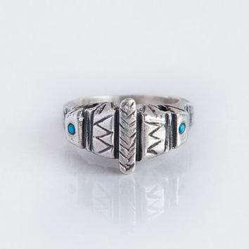 Aztec turquoise stones silver ring boho gypsy style made in solid sterling silver