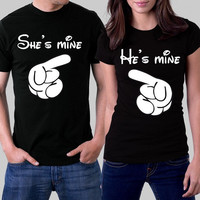 Disney She's Mine / He's Mine  (Multi-Color Choices) Combo Pack / Disney Wedding / Disney Vacation Shirts / Disney Trip Shirts Womens T-Shirt