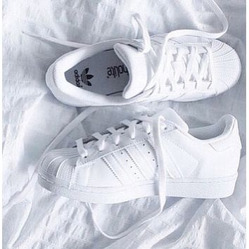 ADIDAS Classic Tide Brand Fashion Flat Sneakers Shell Shoes F Full white