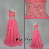 High Quality One shoulder Sleeveless Pink Tulle Crystal Beading/Long prom/Evening/Party/Homecoming/cocktail /Bridesmaid/Formal Dress
