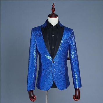 New Sequin gold silver red black Shawl Lapel Men Suits jacket pant Hosted ceremonial studio performance singer dress