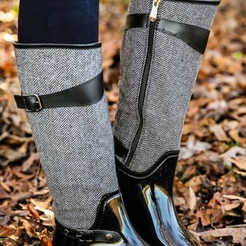 London Calling Boots-Black Herringbone