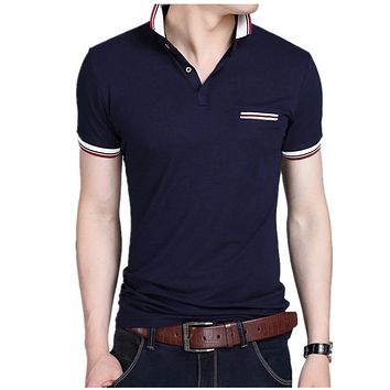 Men's T-Shirt summer new style large size T shirt homme Slim turn-down collar Short-Sleeve Casual cotton t-shirts mens Tees&Tops