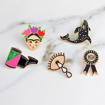 Trendy Artista de Mexico pins Eye film dolphin brooches Brooch badges Enamel pin denim jackets blouse backpack accessories AT_94_13