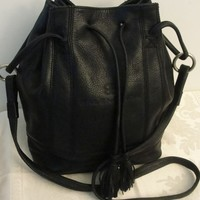 Vintage Balenciaga Paris Black Leather Tote Drawstring Bucket Bag