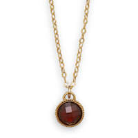 16in x 2in 12/20 Gold Filled Necklace with Faceted Red Glass Pendant