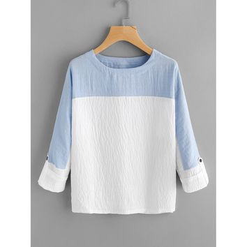 Two Tone Rolled Sleeve Blouse Round Neck