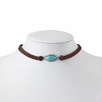 Bohemian Turquoise Necklace Native American Minimalist Suede Leather Choker Boho Jewelry