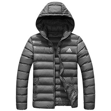 Adidas Winter Fashion Men Women Casual Zipper Hoodie Cardigan Couple Cotton Jacket Coat Windbreaker Grey