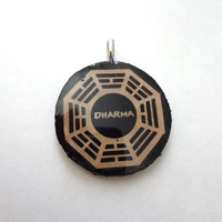 Altered Art Photo Transfer Pendant - Lost Pendant, Necklace, jewelry, TV, dharma, The Dharma Initiative, OOAK, Jack, Kate, Scene (Round)