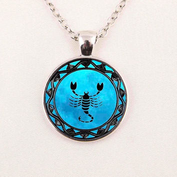 Blue Scorpio Horoscope Necklace