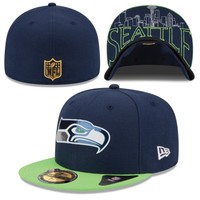 Men's New Era College Navy/Neon Green Seattle Seahawks 2015 NFL Draft On-Stage 59FIFTY Fitted Hat