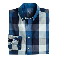 J.Crew Mens Indigo Cotton Shirt In End-On-End Buffalo Check