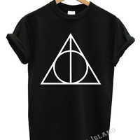 deathly hallows t shirt triangle harry potter movie hogworts hipster swag dope wasted  all colours magazine more issues trend tumblr