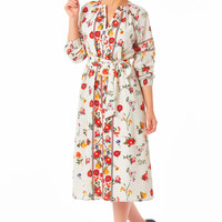 Botanical print sash tie shift dress