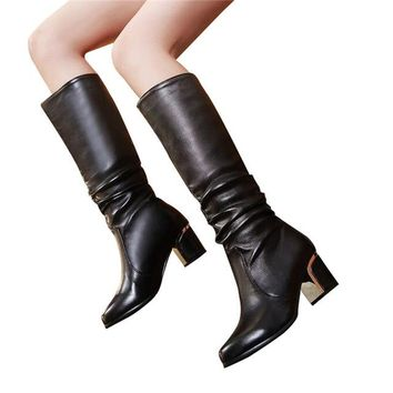 Women Fashion Knee High Boots with Thick Medium Heel in Black or White