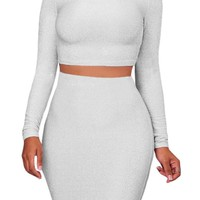 White Silver Shimmer Long Sleeve Turtleneck Top and Bodycon Skirt Set
