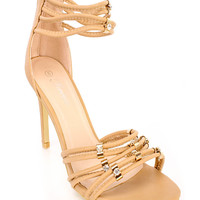 Taupe Strappy Rhinestone Single Sole High Heels Faux Leather