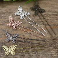 30*20MM 6 Colors Plated Butterfly U Shape Hair Pins ,Vintage Hair Sticks Hairpins Setting Hair Jewelry 20 PCS cy1074