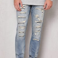PacSun Stacked Skinny Ripped Light Wash Stretch Jeans at PacSun.com