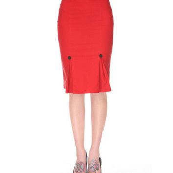 Voodoo Vixen Red Pleated Wiggle Pencil Skirt