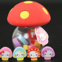 Eight Baby Hello Kitty Mushrooms with Red Cap