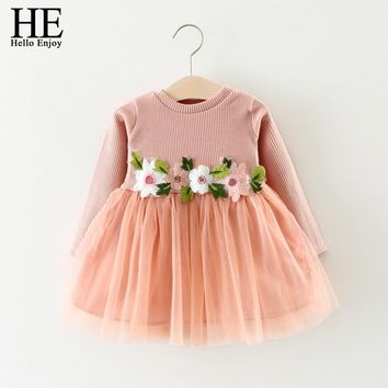Baby Girl Dresses Infant Girls Dress Spring Autumn Flowers Long Sleeve Puff Dresses For First Birthday Party