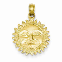 14k Yellow Gold Solid Polished 3-D Sun Pendant